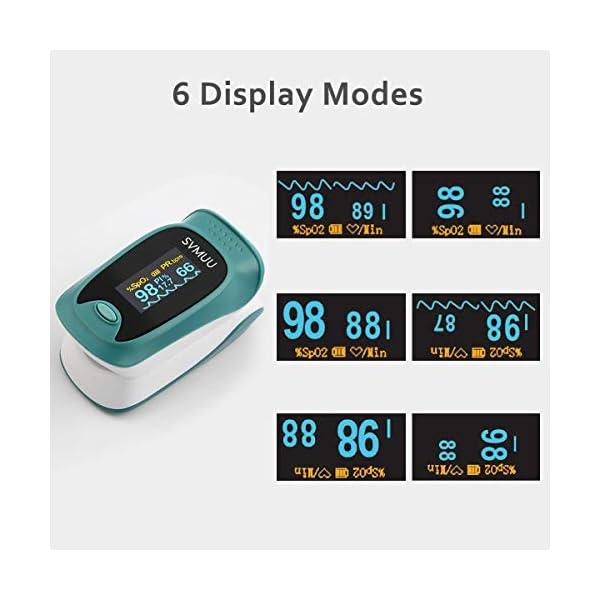 SVMUU Pulsossimetro, Ossimetri Professionale Portatile con Display LCD, Misura in 6 Secondi, per La Frequenza del Polso… 7 spesavip