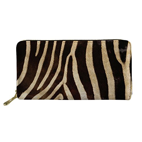 - chaqlin Womens Leather Wallet Zip Around with Animal Zebra Outdoor Handbag Durable Purse Long Style Large Capacity Money Clips