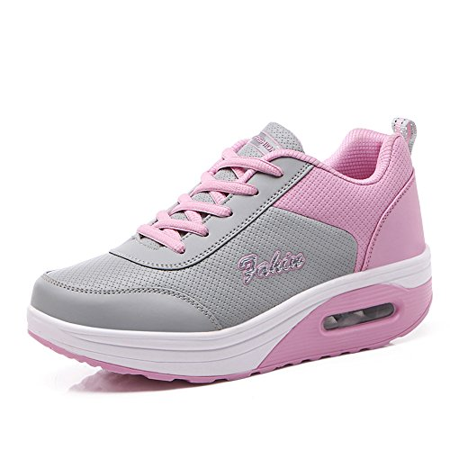 M Women B959huifen37 Running Fitness Shoes US GD Lace B Sneakers EnllerviiD Walking 6 Pink Comfort Platform Up gZvvw4qE