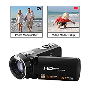 """SEREE Video Camcorder Full HD 1080p Digital Camera 24.0MP 18x Digital Zoom 2.7"""" LCD 270° Rotation Screen With Remote Control by SEREE"""