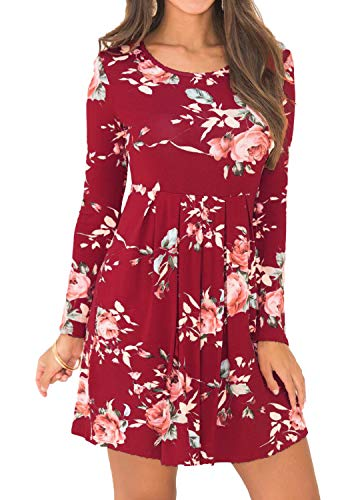 Womens Round Neck Floral Print Pockets Loose Swing Party Mini Dress Wine L