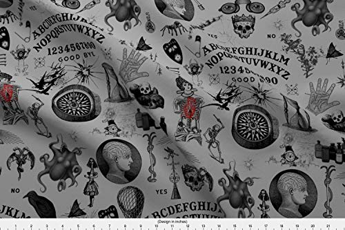 Talking Board Fabric - Talking Board Scary Spooky Halloween Spirits Talking Board Fortune Telling Occult Halloween by Mandamacabre Printed on Basic Cotton Ultra Fabric by The -