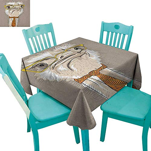 longbuyer Indie,Washable Tablecloth,Sketch Portrait of Funny Modern Ostrich Bird with Yellow Eyeglasses and Tie,70