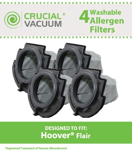 4 Dust Cup Filters for Hoover Flair S2200, S2220, S2201 Series Stick Vacuums; Compare to Hoover Part No. 59136055; Designed & Engineered by Crucial Vacuum