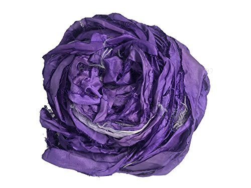er Bulky Recycled Sari Silk Ribbon Yarn in Purple Color | 50 GMS - 30 Yards | Duppioni Silk Ribbon | Ribbon for Crafts, Rug Making, Jewelry Making (Pack of 1) ()