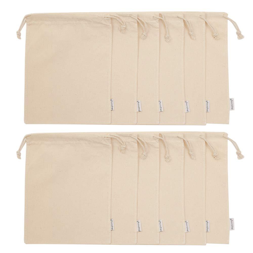 Tissu M: 13cmX18cm 100//% coton Avec cordon de serrage Lot de 12 pochettes de mousseline Augbunny