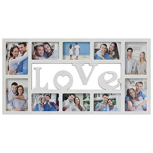 Frames Photo Decorative (Collage Picture Frame Plastic Love Wall Hanging Photo Frame Rahmen Portable 10 Openings 3D Style Decorative Picture Frame Four 5X7 and Six 4X6 Photos White)