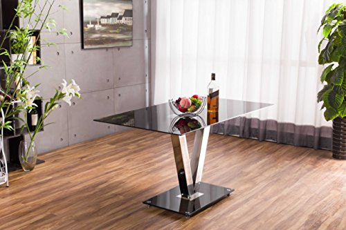 New FLORINI 'V' Gloss Chrome Black Metal/Glass Dining Table Only