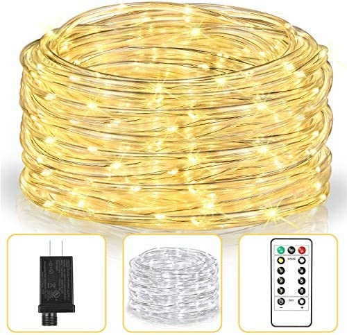 LED Rope Lights, 33FT 100LEDs 2 Colors in 1 Plug-in Outdoor String Lights with Remote Waterproof Twinkle Fairy Lights for Bedroom, Wedding, Indoor, Garden, Christmas Decor, Warm White Cool White
