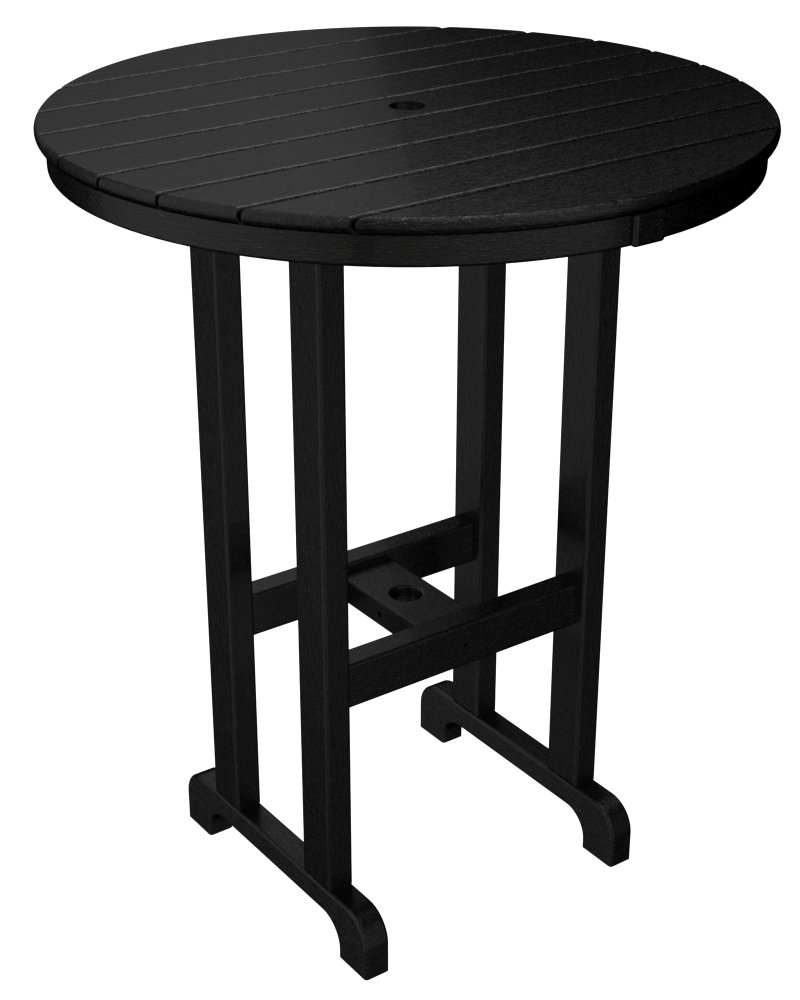 POLYWOOD RBT236BL Round Bar Table, 36-Inch, Black