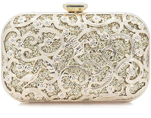 (Dexmay Formal Flower and Bird Evening Bag for Wedding Party Luxury Glitter and Rhinestone Crystal Clutch Purse Gold )