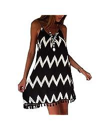 Fashion Black White Wavy Striped Spaghetti Strap Women Loose Tassel Summer Dress Robe