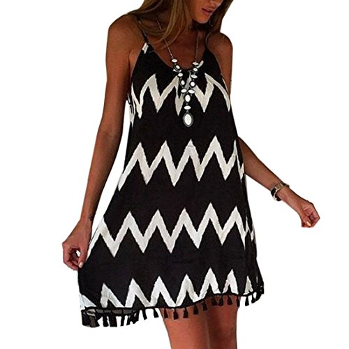 Fashion Black White Wavy Striped Spaghetti Strap Women Loose Tassel Summer Dress Robe