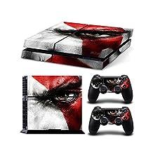 Sony PlayStation 4 Skin Decal Sticker Set - Eye of Kratos (1 Console Sticker + 2 Controller Stickers)