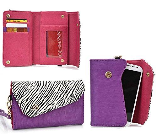 Kroo Link Wallet in Purple Zebra Blend Universal fit for Kazam Thunder Q4.5, Lava 3G 415 Case ()