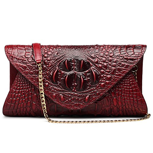 - ZOOLER GLOBAL Genuine Leather Purse Clutch Crossbody Bag Crocodile Embrossed