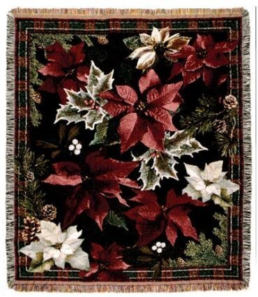 (Poinsettia N' Plaid Christmas Holiday Tapestry Throw Blanket 50
