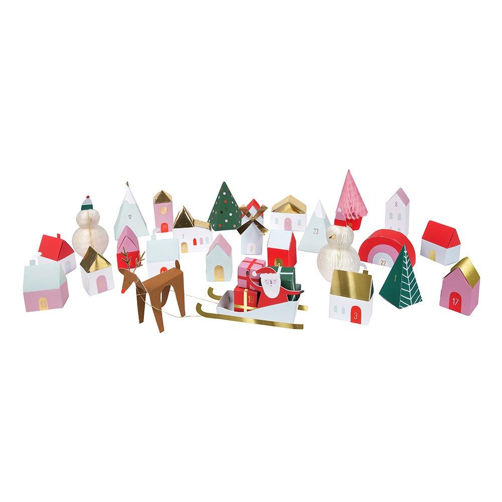Adventskalender Weihnachtsdorf - kleine Schachteln in Form eines Dorfes zum Befü llen Meri Meri