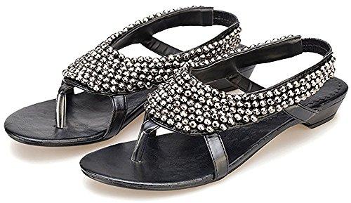 D2c Beauty Dames Zomer Bohemien Kralen Platte String Sandalen Zwart