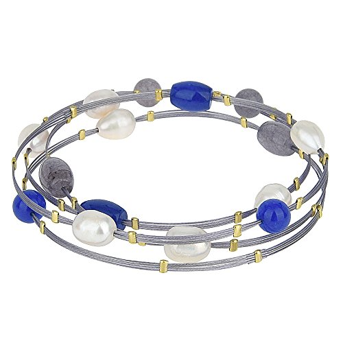 BIJOUX BOBBI Agate Beads & Faux Pearls Wire Bangle Set (Blue, Gray, Pearl (A1852RGSP))