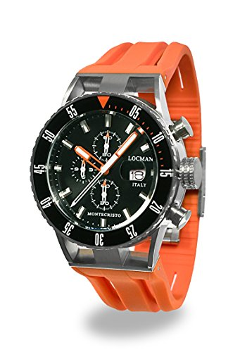Locman Italy Men's 'Montecristo Professional' Quartz Stainless Steel and Rubber Diving Watch, Color:Orange (Model: 051200KOBKNKSIO)