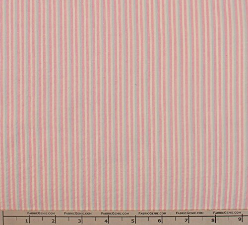 Sidewalk Cotton Stretch Seersucker Stripe Fabric, Seerssucker Plaid Fabric, Seersucker Shirting Fabric - PINK/BLUE/WHT / 5 Yard Bolt -