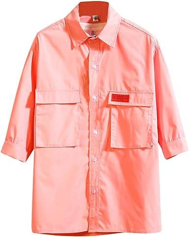 Aiserkly - Camiseta de manga larga para hombre, estilo casual, color negro, con bolsillo de tres cuartos, ajuste regular, fácil cuidado, verde, rosa, blanco y negro Rosa rosa XXL: Amazon.es: Ropa y