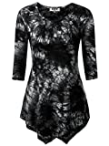 DJT Women's Scoop Neck 3/4 Sleeve Tie Dyed Hankerchief Hem Tunic Top Large Tie Dye Black