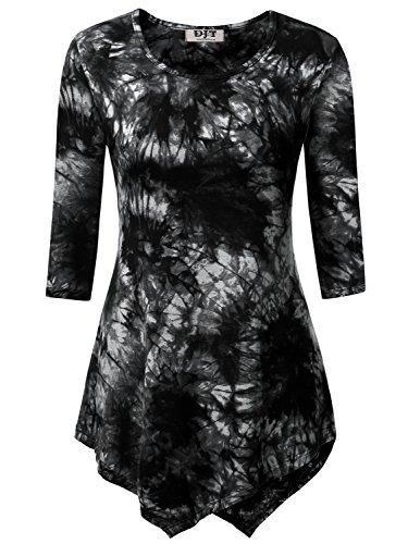 DJT Women's Scoop Neck 3/4 Sleeve Tie Dyed Hankerchief Hem Tunic Top X-Large Tie Dye Black (Tie Dyed)