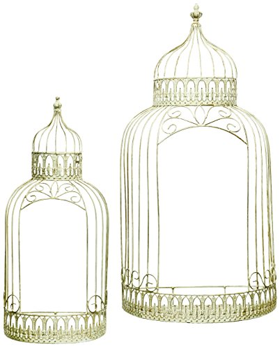 Caffco International Birdcage Shaped Wall Shelves, Set of 2 - Set of 2 decorative shelves are flat on the back to mount directly to a wall or set on a flat surface Large shelf measures 18-Inch wide x 9-Inch deep and stands 34.25-Inch tall Small shelf measures 11.75-Inch wide x 6-Inch deep and stands 27-Inch tall - wall-shelves, living-room-furniture, living-room - 51JI TJHAjL -