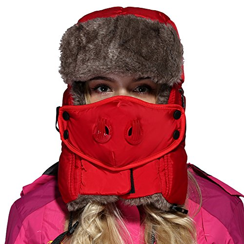 Leories Winter Trapper Trooper Hat Windproof Warm Camouflage Mask Ear Flaps Outdoor Sports Walking Skiing Hunting Hat Red