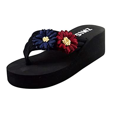 d6ede31a8059 Kasien Women s Ladies Summer Flower Home Wedges Beach Shoes Sandals Flip  Flops Slippers (Blue