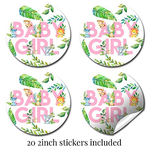 """Deluxe Watercolor Jungle Animals Baby Shower Party Bundle for Girls, Includes 20 each of 5''x7'' Fill In Invitations, Diaper Raffle Tickets, Bring a Book Cards & 2"""" Thank You Favor Stickers w/ Envelopes by Amanda Creation (Image #4)"""