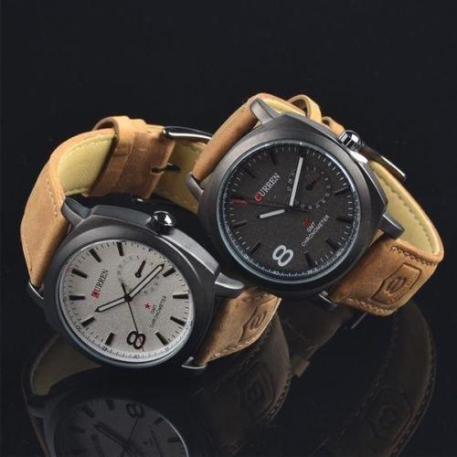 CURREN 8139 Unisex Stylish Quartz Analog Watch with Leather Strap Luxury Sport Wristwatch For Women Men