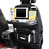 Car Backseat Organizer Ideashop PU Leather Auto Back Car Seat Organizer for Kids Toy Bottles Storage with Foldable Dining Table Holder Pocket Storage Kick Mats(Black with Table Tray)