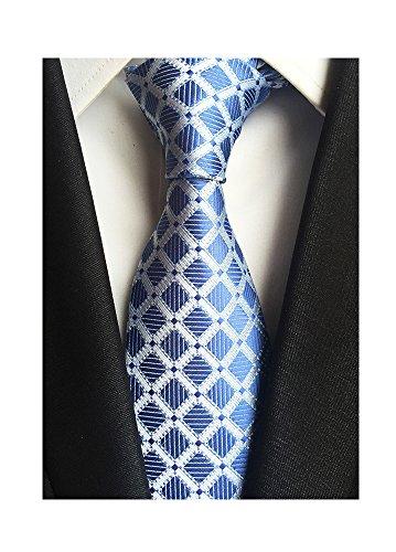 Men's Classic Checks Light Blue Silver Jacquard Woven Silk Tie Necktie + Gift Box