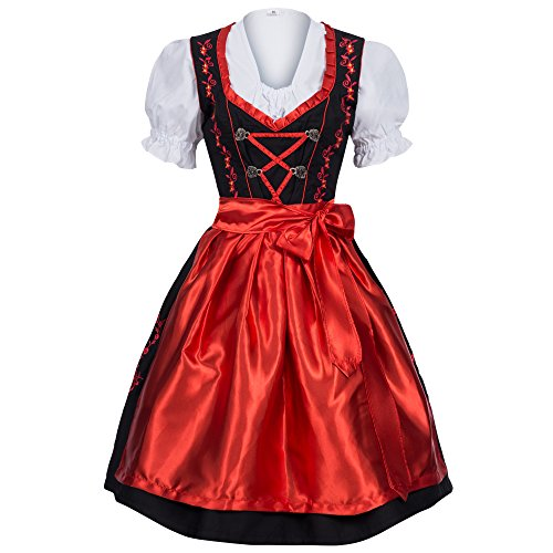 Gaudi-leathers Women's Set-3 Dirndl Pieces Embroidery 42 Red/Black (German Ladies Traditional Dress)