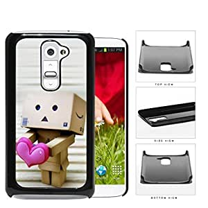 Cute Robot Box Holding Out Pink Heart Hard Snap on Phone Case Cover Android LG G2