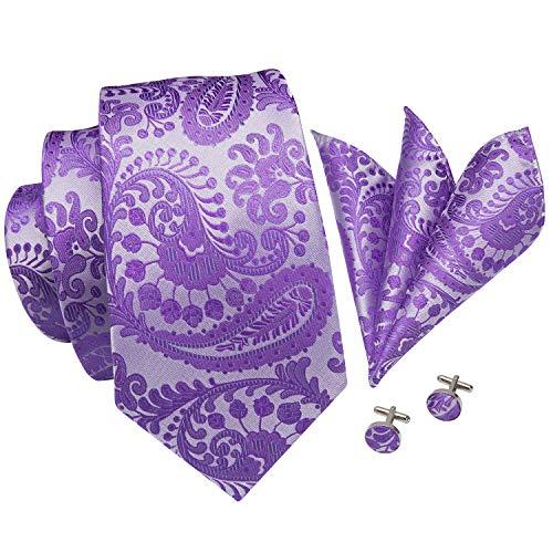 (Hi-Tie New Arrival Mens Purple Paisley Tie Necktie Pocket Square and Cufflinks Tie Set Gift Box (Purple paisley))