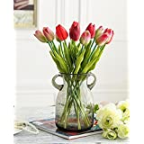 XHOPOS HOME Artificial Flowers Living Room Bedroom Glass Vase Bouquet Tulip Red D Decorative Fake Flowers For Home Party and Garden Decor
