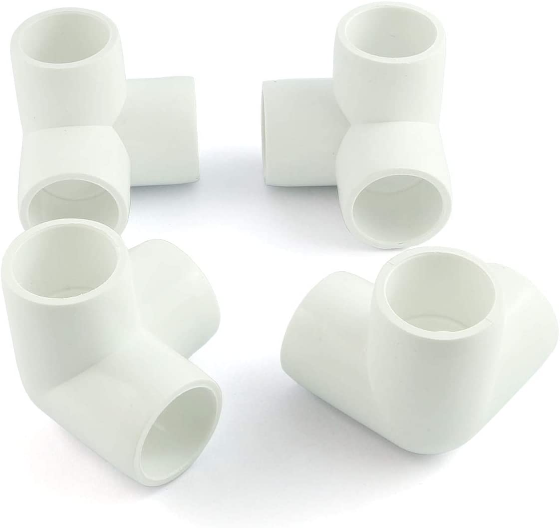 PZRT 4pcs 1/2 Inch 3 Way PVC Fitting Furniture Grade Pipe Right Angle Three-Dimensional Elbow Connector for DIY PVC Shelf Garden Support Structure Storage Frame, White