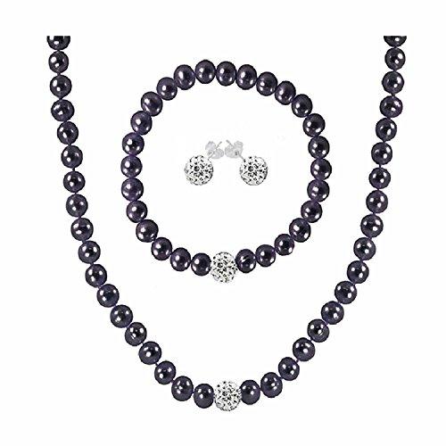 Regalia Cultured Freshwater Pearl Jewelry Set in Rhodium Plated Silver. Assembled in The U.S.A. (Black)
