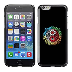 // PHONE CASE GIFT // Duro Estuche protector PC Cáscara Plástico Carcasa Funda Hard Protective Case for iPhone 6 / Colorido Ying Yang /