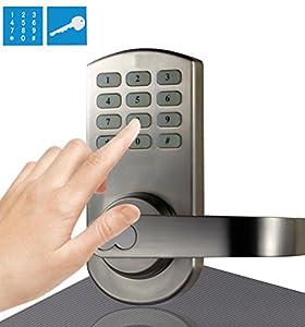 Digi Digital Electronic Keyless Keypad Door Lock Reversible Lever Handle  209 Satin Nickel Color