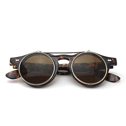 Retro Stil Unisex Hochklappen Rund Sonnenbrille Steampunk Gotik Schutzbrille Brille Leopard