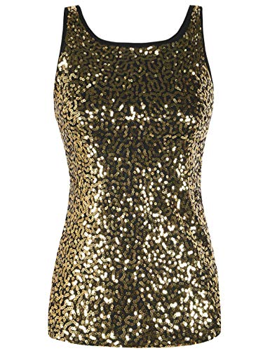 (PrettyGuide Women's Tank Top Sequined Sparkle Shimmer Plus Size Party Top Gold XXL/18-20)