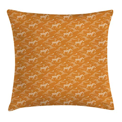 Lunarable Cheetah Throw Pillow Cushion Cover, Abstract Pattern with Savannah Animal Striped and Dotted Silhouettes, Decorative Square Accent Pillow Case, 36 X 36 Inches, Dark Orange and White