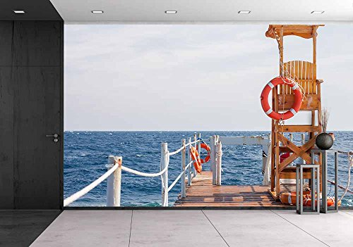 wall26 - Life Guard Tower at the Eand of Pier - Removable Wall Mural | Self-adhesive Large Wallpaper - 66x96 (Pier Tower)