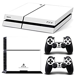 FriendlyTomato PS4 Console and DualShock 4 Controller Skin Set - White Color - PlayStation 4 Vinyl Colour