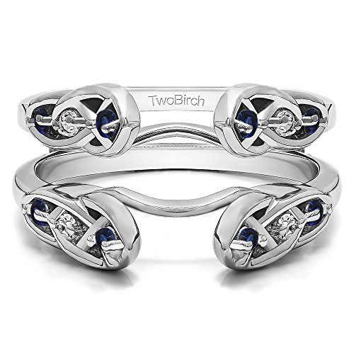 (TwoBirch Sterling Silver Infinity Celtic Ring Guard Enhancer with Diamonds (G-H,I2-I3) and Sapphire (0.24 ct. tw.))
